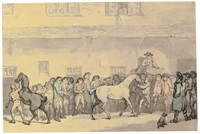 a horse sale at hopkins' repository, london by thomas rowlandson