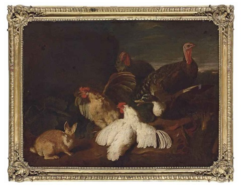 hens turkeys a duck and a rabbit in a park landscape by giovanni agostino abate cassana