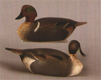 miniature duck decoy (+ another; pair) by ward brothers