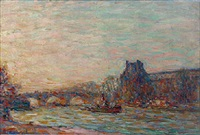 boats on the river seine, paris by anatole eugène hillairet