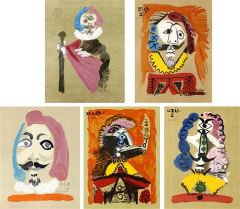 5 plates from imaginary portrait set of 5 by pablo picasso