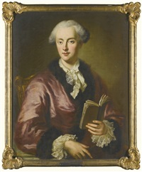 portrait of graf gotthelf adolf hoym (1731-1783), half-length, wearing a pink fur-trimmed gown and lace cuffs, sitting on a chair holding a book by german school (18)