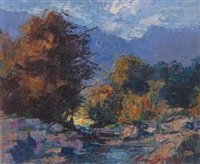 landscape with stream and distant mountains by anton benzon