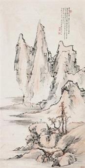 秋山远眺 挂轴 设色纸本 by liang yuwei