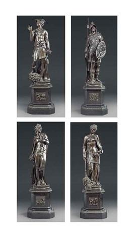 figures of apollo, mercury, pallas and peace (set of 4) by jacopo sansovino