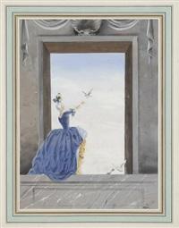 femme aux oiseaux - couple (2 works) by rené gruau