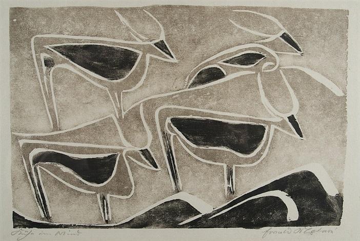 kühe im wind, pl.5 (from die schaffenden) by ewald mataré