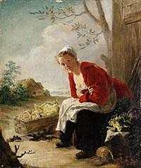 ung kvinna med grönsakskorg by ferdinand fagerlin