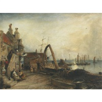 new haven harbour by david octavius hill