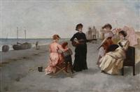compagnie de dames et une guitariste à la plage by theodore stacy