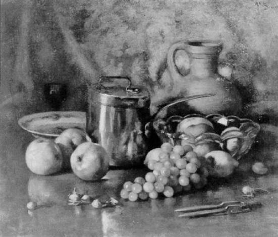 stilleven met druiven noten en appels by andré broedelet