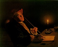 portrait of a man writing by candlelight by christian friedrich reinhold lisiewski