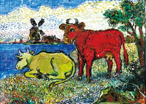 cows by a river by david davidovich burliuk