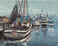 harbor with docked boats by ben abril