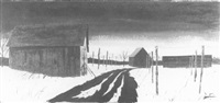 tobacco sheds in a winter landscape by john austin