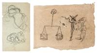 deux feuilles, recto-verso, sur le même montage: étude de balance et petits personnages; une tête de profil by honoré daumier