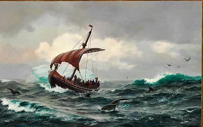 sommernat under den grønlandske kyst circa aar 1000 (eric the red and his crew on board a viking ship) by carl (jens erik c.) rasmussen
