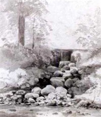 a stream with a waterfall by cornelis steffelaar