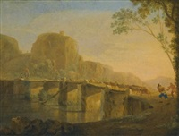 landscape with shepherds and their flock crossing the ponte acquoria near tivoli by jan asselijn