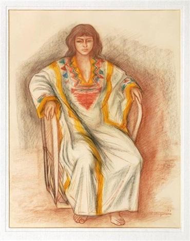 mujer sentada by raúl anguiano