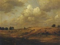 onweerswolk, blaricum: leading the flock over the heath by johan ernst bäumer