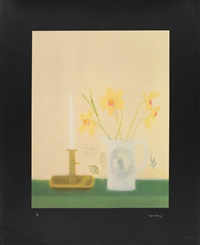 daffodils and candlestick by craigie aitchison