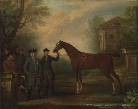 sir robert walpole 1st earl of orford 1676 1745 with a groom holding a bay hunter other figures horses and hounds in a landscape by john wootton