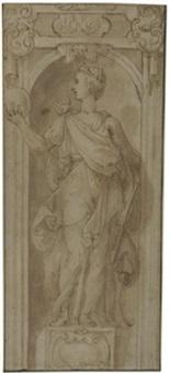 weibliche allegorische figur in einer nische by taddeo zuccaro