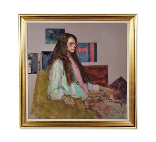 seated lady in glasses by alex koolman