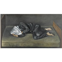 figure lying with covered head by christopher couch