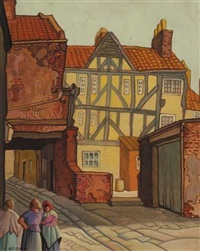 street scene with three women by harry epworth allen