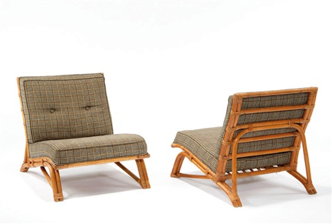 Rattan Lounge Chairs Pair By Carl Anderson And Ross Bellah