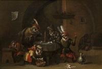 réunion de singes dans une taverne by ferdinand van kessel