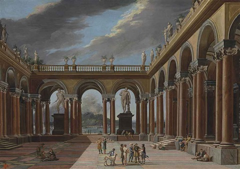 an architectural capriccio of a loggia with elegantly dressed figures the sea and mountains beyond by viviano codazzi