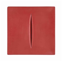 concetto spaziale (red) by lucio fontana