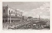 veduta dalla colonna di s. marco lungo la riva degli schiavone by antonio visentini