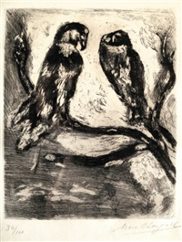 the eagle and the owl, from les fables de la fontaine by marc chagall