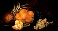 still life with grapes, oranges and pineapple by frederick s. batcheller