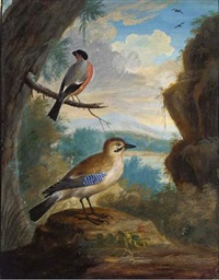 a jay and a bullfinch on a branch in a landscape by j. f. hefele