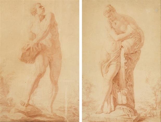 hercule femme portant une jarre deau 2 studies by leonard de france