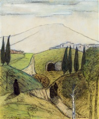 italian landscape with figures by lajos gulácsy