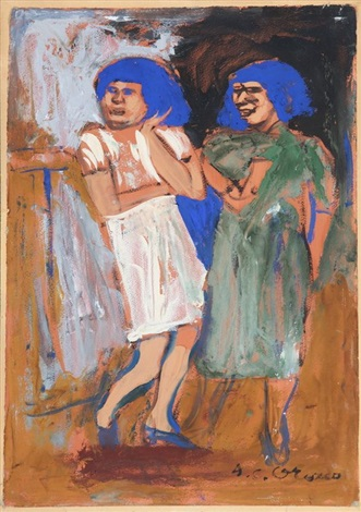 deux femmes aux cheveux bleus by josé clemente orozco