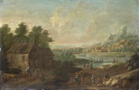 figures resting on the banks of a river, with mountains in the distance by mathys balen