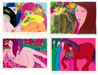 a.持扇女郎 b.女郎與貓 c.斑點沙發 d.女郎與紅馬 (hidden smile) (+ 3 others; 4 works) by walasse ting