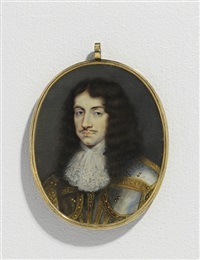 king charles ii, in steel cuirass and pauldrons with gilt detailing by mathew snelling