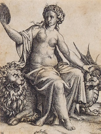 woman with dragon by andrea mantegna