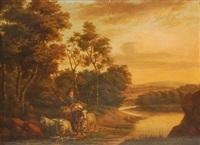 paysage fluvial avec berger assis sur un âne by abraham renodi