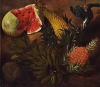 still life with south american fruits, pineapple, watermelon, banana, trusses and game bird by anonymous-brazilian (19)