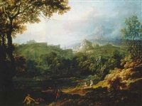 an italianate landscape with figures on a hillside by edmund garvey