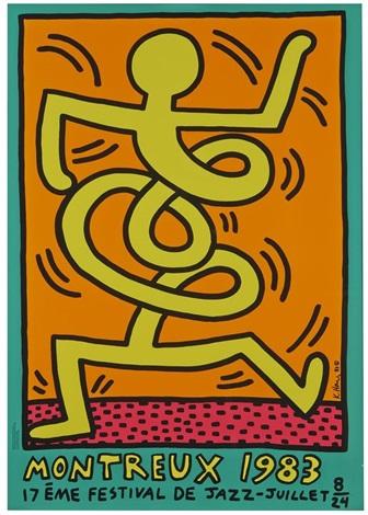 posters pour le festival de jazz de montreux (3 works) by keith haring
